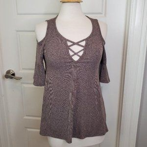 DESIGN LAB Lord & Taylor Criss Cross Knit Blouse S